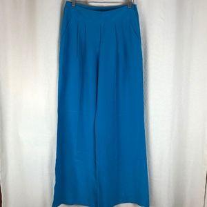 Trina Turk Teal Silk Trouser Leg Pants 0